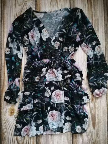 Sukienka kwiaty letnia wesele poprawiny okazjonalna kwiaty L XL