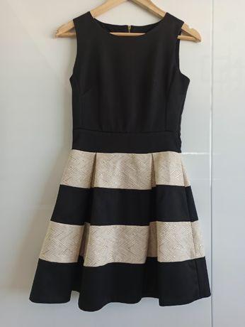 Sukienka czarna ze złotymi pasami 36