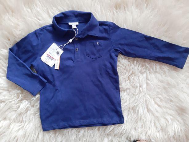 Nowa Bawełniana Bluzka z kołnierzem OVS Chłopiec rozmiar 86