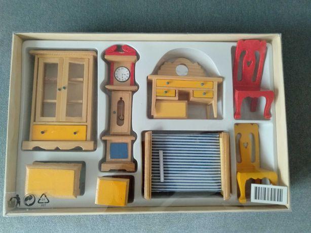 Mebelki miniaturowe drewniane 9 elementów