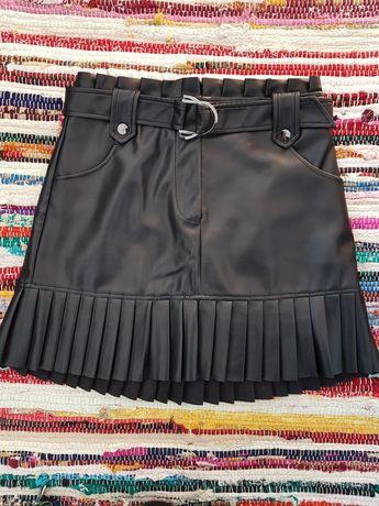 Spódniczka ze skóry plisowana falbana Zara rozmiar S