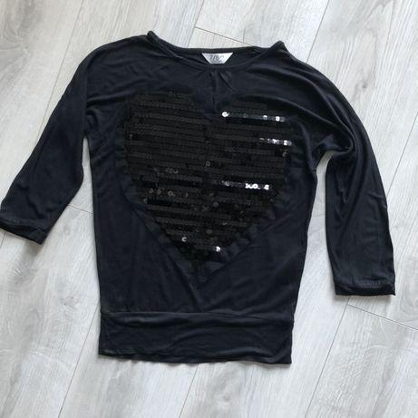 czarna dziewczęca bluzeczka z cekinami 122-128
