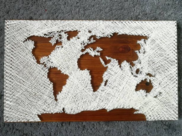 String art mapa świata