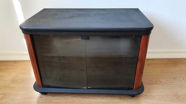 Móvel TV rotativo com vitrina e rodas preto