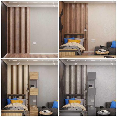 Декоративные деревянные панели и рейки на стену. Баффели