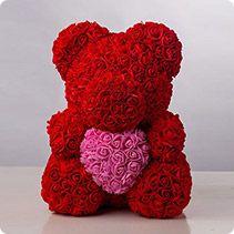 """Мишка из роз""""Teddy Bear"""" 40 см+Кулон """"Я тебя люблю"""""""