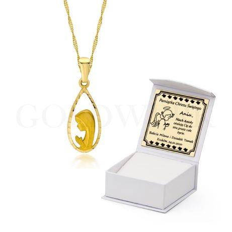 GRAWER Złoty Naszyjnik 333 Medalik Łańcuszek Singapur Złota Zawieszka