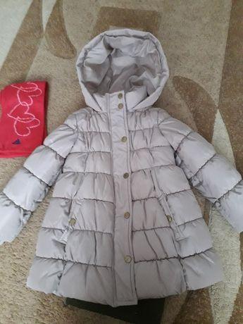 Куртка- пальто Бенеттон Benetton для девочек рост 110 и шарфик Адидас