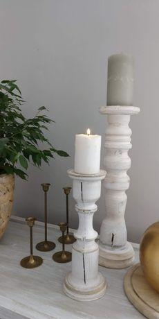 Świeczniki drewniane rękodzieło handmade drewniane