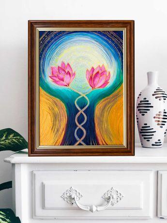 Ezoteryczny obraz - Dwa kwiaty lotosu