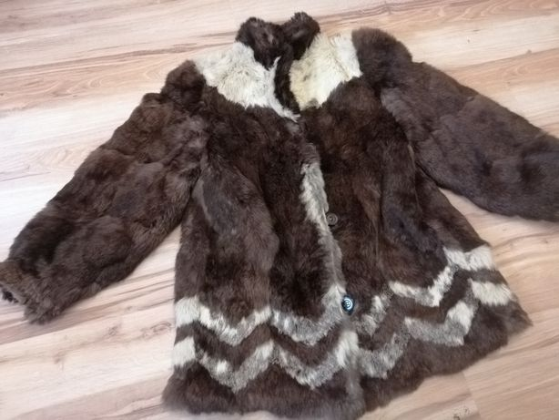 Naturalne futro płaszcz kurtka z królika brąz biel miękkie vintage prl
