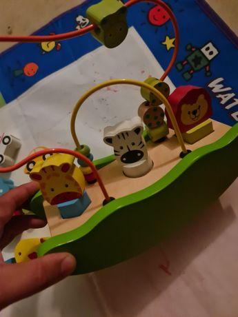 Drewniane malowane zabawki sorterki logiczne