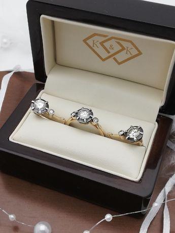 Złoty pierścionek i złote kolczyki z brylantami 2,50 ct Sklep K&K Łód