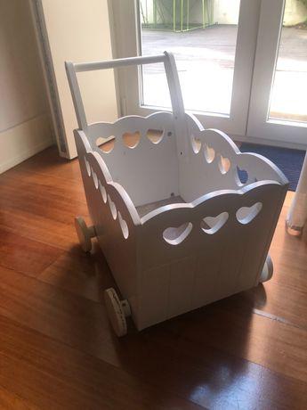 Carrinho / caixa de madeira branco decorativo para quarto bebé