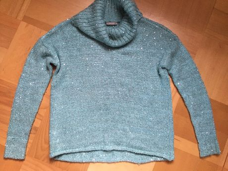 Sweter golf Orsay S błękitny cekiny