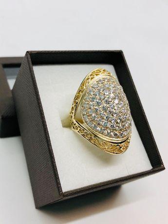 PIĘKNY OGROMNY pierścionek złoty pr. 585 14 k / waga: 10,70 / rozm: 21
