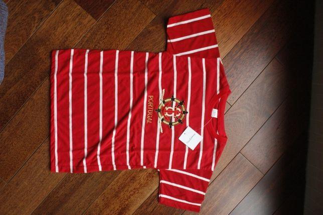 Koszulka dziecięca czerwona w paski 10 lat ok. 140 cm Nowa z metką