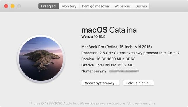 "MacBook Pro (retina 15"", mid 2015) i7 / 2,5 GHz/16 GB/ 512GB/ 75 cykli"
