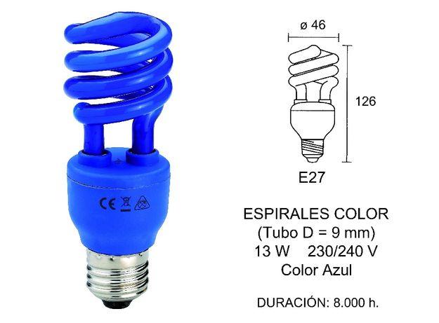 Lâmpada fluorescente colorida baixo consumo azul marca fbrightled