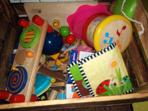 Ogrom zabawek drewniane i grające bebenek, sensoryczne, klocki itp