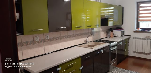 Meble kuchenne polysk grafit-zielony z kuchenką gazowa,zlewem i okapem