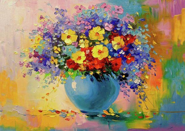 Obraz na płótnie 90x60cm nowy - (loft salon prezent kwiaty bukiet ART)