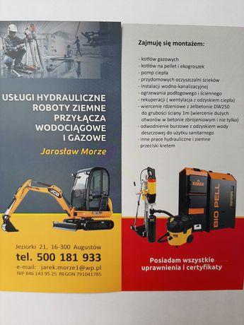 Usługi hydrauliczne. Roboty ziemne. Przyłącza gazowe i wodociągowe