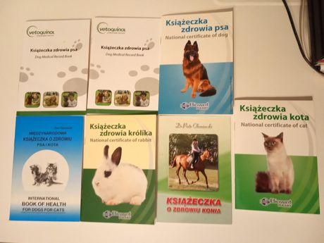 Książeczka zdrowia psa, kota, królika, konia, cena za całość, NOWE