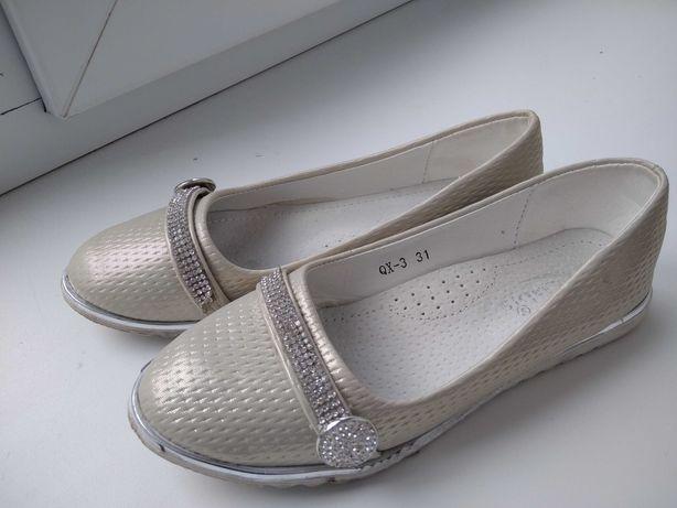 Бежевые туфельки для девочки 31 размер