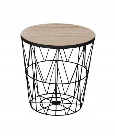 Kosz stolik loft Druciany metalowy space czarny