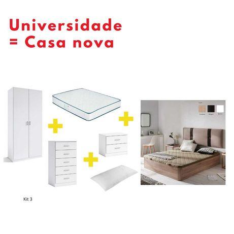 Kits - Sommier, Colchão, Roupeiro, Camiseiro, Mesinhas, Almofada Visco