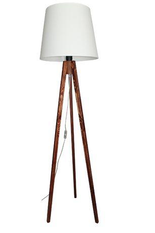 LAMPA stojąca PODŁOGOWA trójnóg drewno 40 cm ABAŻUR 137 cm wysokość.