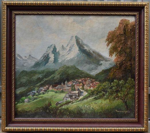 Дореволюционная картина, Горный пейзаж. Размер холста 60,5х70,5 см.