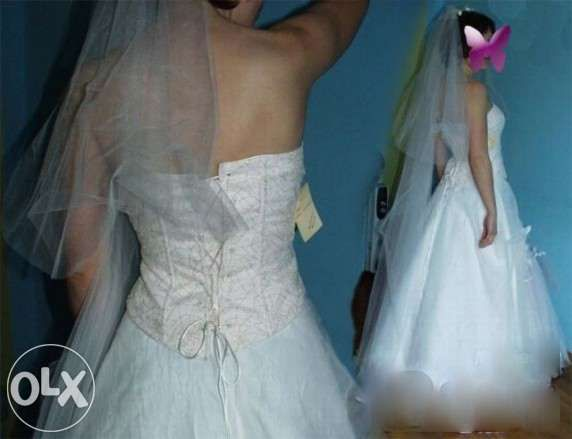 Suknia ślubna pudrowy róż różowa nowa