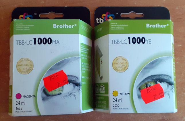 Tusz do drukarki BROTHER TBB-LC1000 Magenta (różowy) i Yellow (żółty)