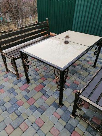 Садовий набір: стіл + 2 лавки. КОВКА. Садовая мебель, стол, скамейка