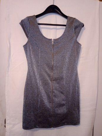 Sukienka mini brokatowa r.40.