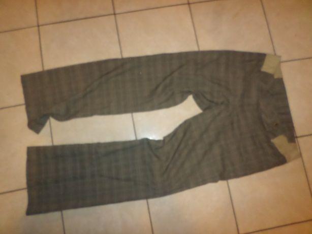 eleganckie spodnie ciązowe krateczka prosta nogawka rozmiar 40