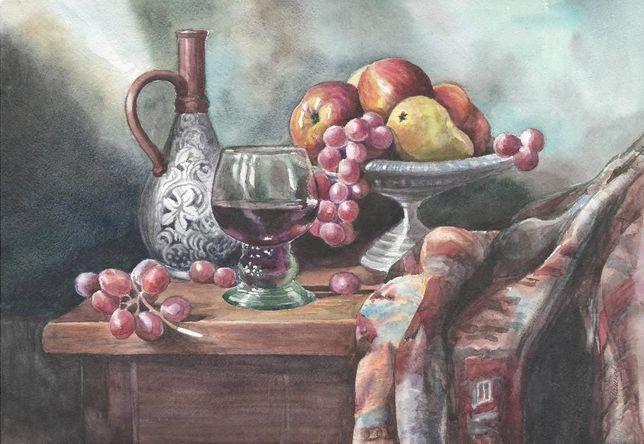 Картина Акварель - Натюрморт с кувшином и фруктами - художник Шашкова