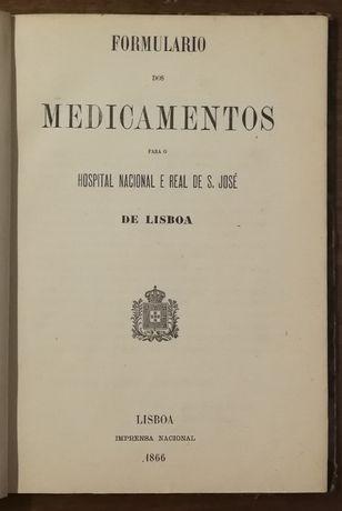 formulário de medicamentos, hospotal nacional e real s. josé , 1866