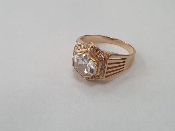 Piękny złoty pierścionek damski/ 585/ 5 gram/ Duża cyrkonia/ R19/ skle