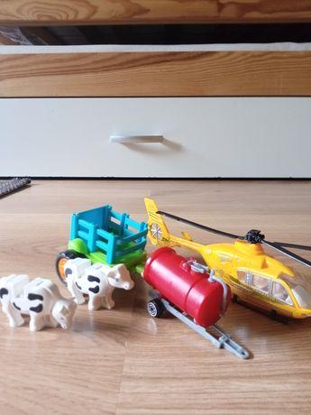 2 przyczepki do traktorka+helikopter+dwie krowki-zabawki