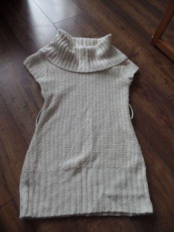 Biały sweter sweterek z srebną nitką golf bezrękawnik tunika długi