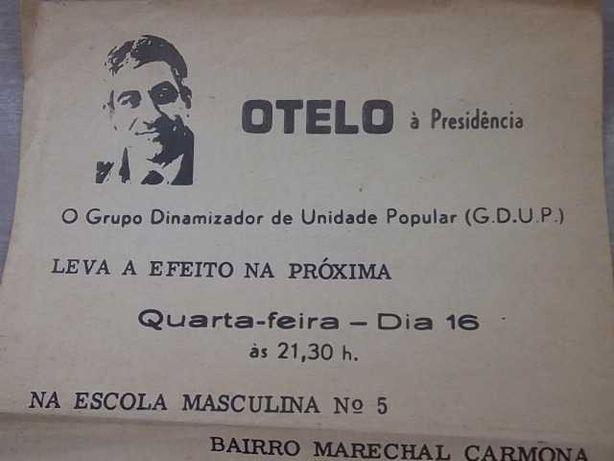 Folheto OTELO à PRESIDÊNCIA (G.D.U.P.) GRUPO UNIDADE POPULAR 1976