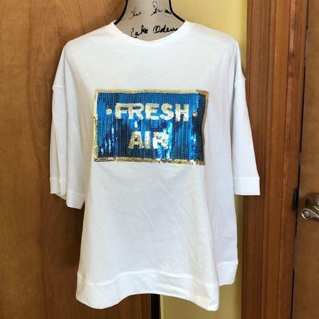 Женская жіноча футболка Zara Зара с паетками модная модна стильна