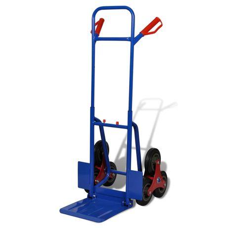 vidaXL Carrinho de carga manual dobrável 6 rodas azul 140512