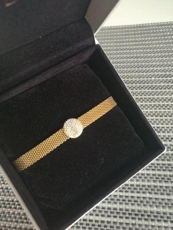 Bransoletka Pandora Reflexions, Pandora Shine złoto + charms elegancja