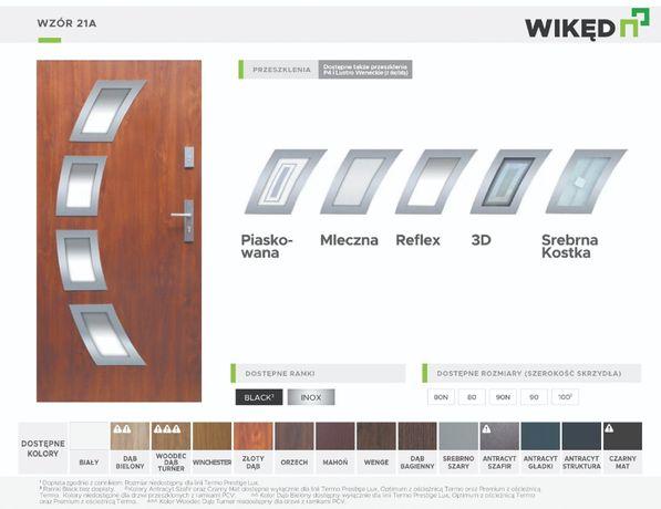 Drzwi wejściowe zewnętrzne Wikęd Premium 54mm Wzór 21A INOX Ud-1,3