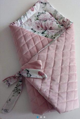 Handmade Rożek niemowlęcy dla dziewczynki kwiaty Velvet