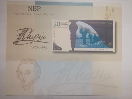Folder do banknotu kolekcjonerskiego 20zł Fryderyk Chopin